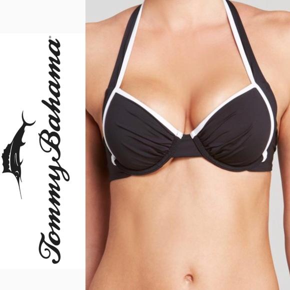 569cf87df0492f NWT Tommy Bahamas 34C black deck piping bikini top.  M_5b35365afe515167564adb9c